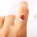 ladybug with leaf ring adjustable, 3 colors - girlsluv.it  - 4