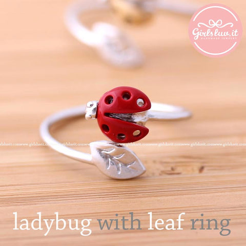 ladybug with leaf ring adjustable, 3 colors - girlsluv.it  - 1