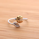 ladybug with leaf ring adjustable, 3 colors - girlsluv.it  - 2