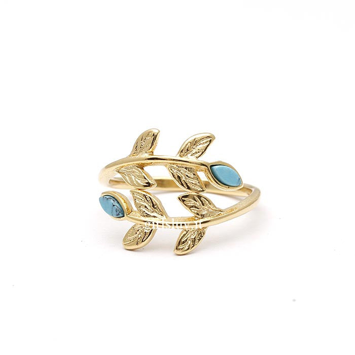 Laurel Ring With Stone, 2 Colors