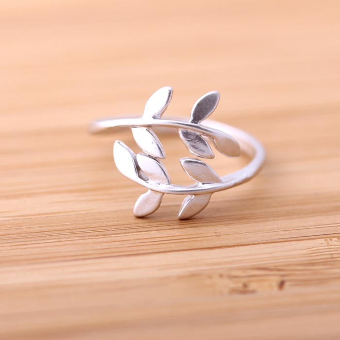 leaf ring (adjustable), silver - girlsluv.it