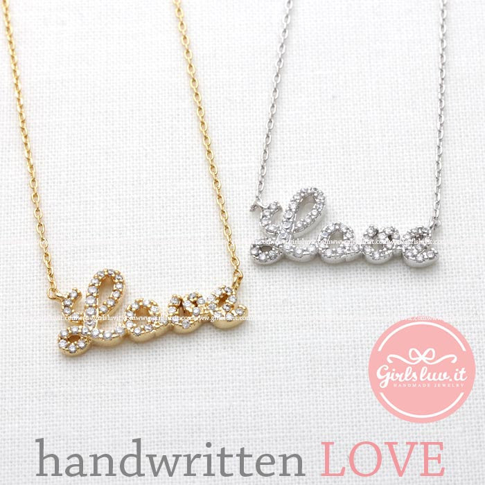 handwritten LOVE necklace with crystals, 2 colors - girlsluv.it