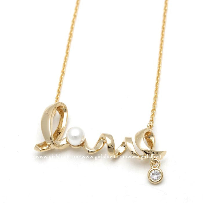 love necklace, pearl - girlsluv.it  - 1