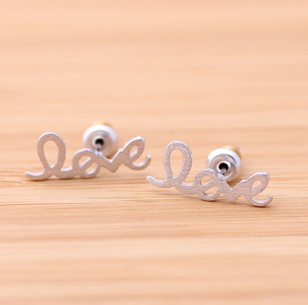 love stud earrings, in silver - girlsluv.it  - 1
