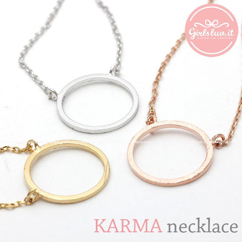 KARMA(open circle pendent) necklace, 3 colors - girlsluv.it  - 1