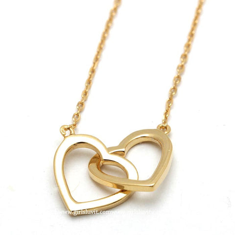 open heart necklace, crossed - girlsluv.it  - 1