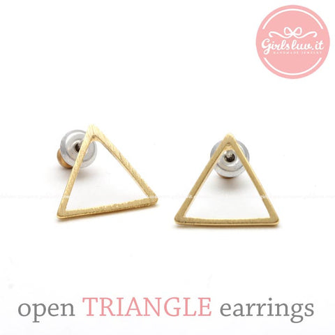 open TRIANGLE stud earrings, 2 colors - girlsluv.it