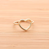 sterling silver OPEN HEART RING, 2 colors - girlsluv.it  - 2