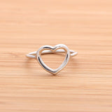 sterling silver OPEN HEART RING, 2 colors - girlsluv.it  - 3