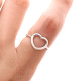 sterling silver OPEN HEART RING, 2 colors - girlsluv.it  - 4
