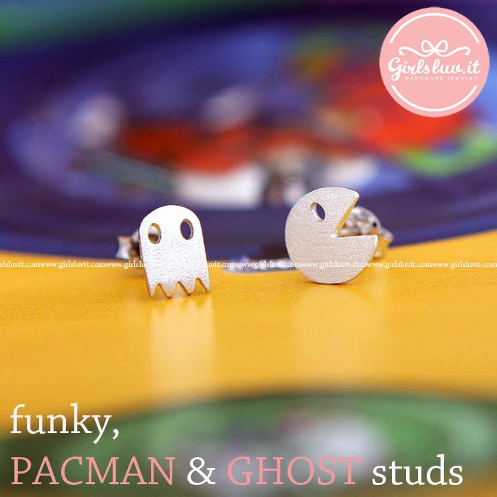 tiny PACMAN & GHOST stud earrings, 2 colors - girlsluv.it