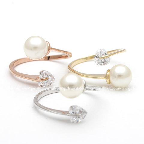 pearl ring with heart - girlsluv.it