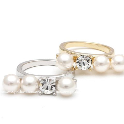 pearl ring with crystal - girlsluv.it  - 1