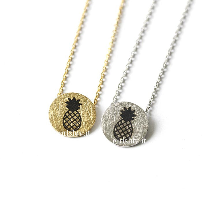 Pineapple Disc Necklace, 2 Colors