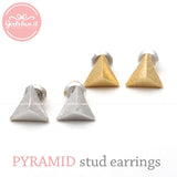 tiny pyramid stud earrings, 3 colors - girlsluv.it  - 2