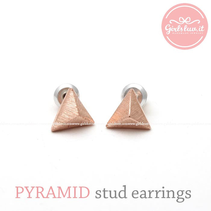 tiny pyramid stud earrings, 3 colors - girlsluv.it  - 1