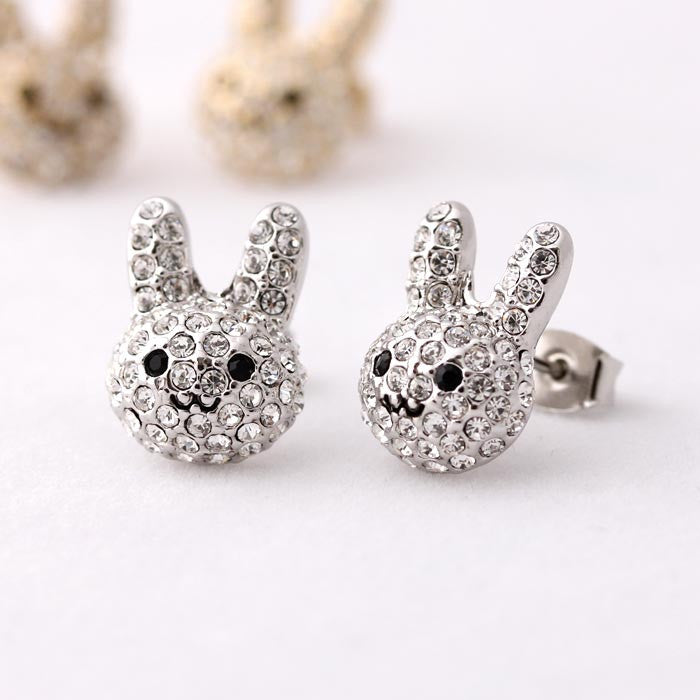 Rabbit (bunny) stud earrings, silver - girlsluv.it