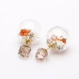 real dried flowers, front and back earrings - girlsluv.it  - 2