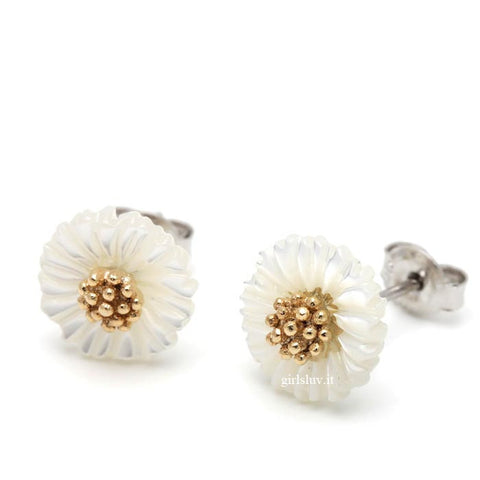 flower earrings with shell - girlsluv.it  - 1