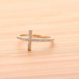 SIDEWAYS CROSS  ring, with crystals in gold(plated, 925sterling) - girlsluv.it  - 1