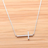 sideways cross necklace, crystals - girlsluv.it  - 3