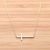 sideways cross necklace - girlsluv.it  - 1