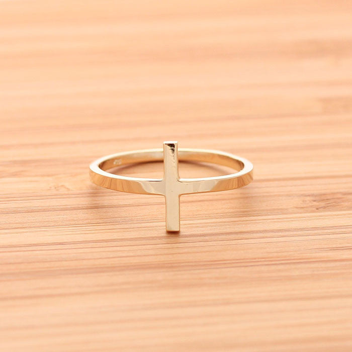 SIDEWAYS CROSS ring, in gold(plated, 925sterling) - girlsluv.it  - 1