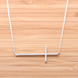 big sideways cross necklace, crystals - girlsluv.it  - 4