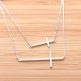 big sideways cross necklace, crystals - girlsluv.it  - 3