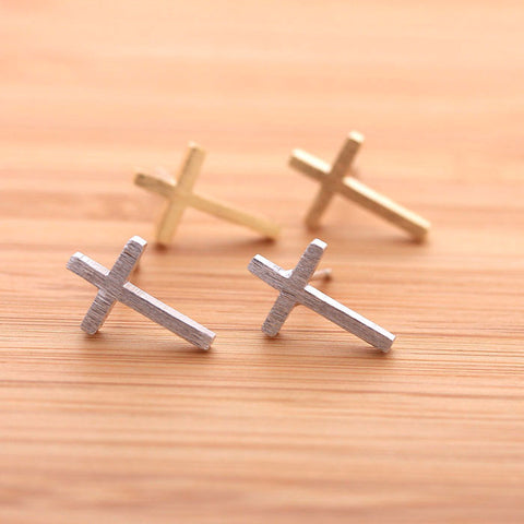 SIDEWAYS CROSS stud earrings, 2 colors - girlsluv.it  - 1