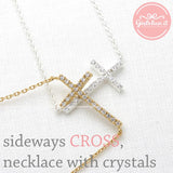 sideways cross necklace, crystals - girlsluv.it  - 2