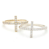 sideways cross ring, crystals - girlsluv.it  - 2