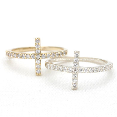 sterling silver, sideways cross ring with crystals - girlsluv.it  - 1