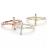 sideways cross ring, crystals - girlsluv.it  - 1