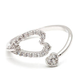 double heart ring, crystals - girlsluv.it  - 2