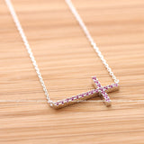 sterling silver, sideways cross necklace, pink crystals - girlsluv.it  - 2