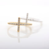 SIDEWAYS CROSS  ring, with crystals in gold(plated, 925sterling) - girlsluv.it  - 2