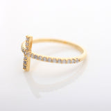 SIDEWAYS CROSS  ring, with crystals in gold(plated, 925sterling) - girlsluv.it  - 3