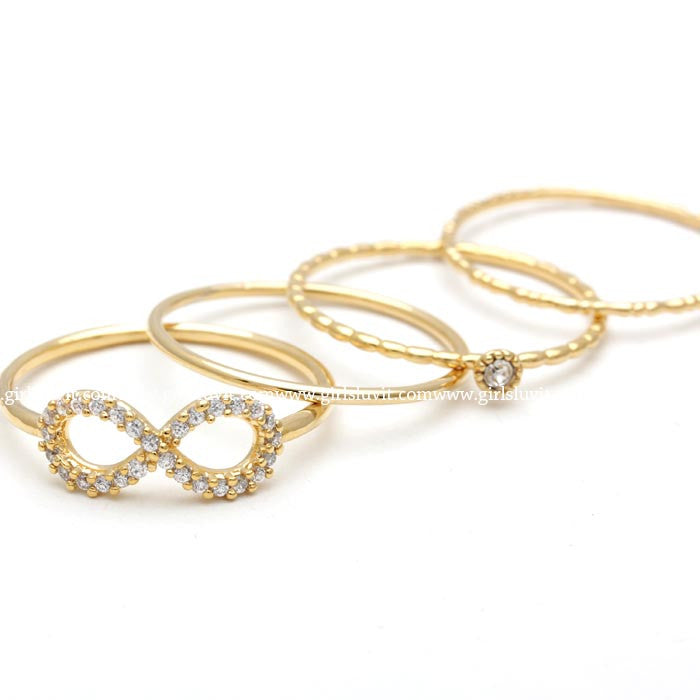 simple INFINITY with crystals layered ring set, in gold - girlsluv.it