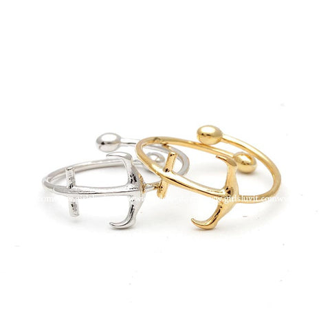 tiny anchor knuckle ring, adjustable - girlsluv.it  - 1