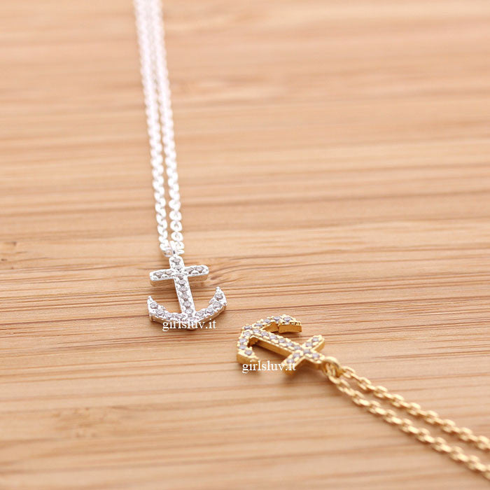 tiny anchor necklace, crystals - girlsluv.it