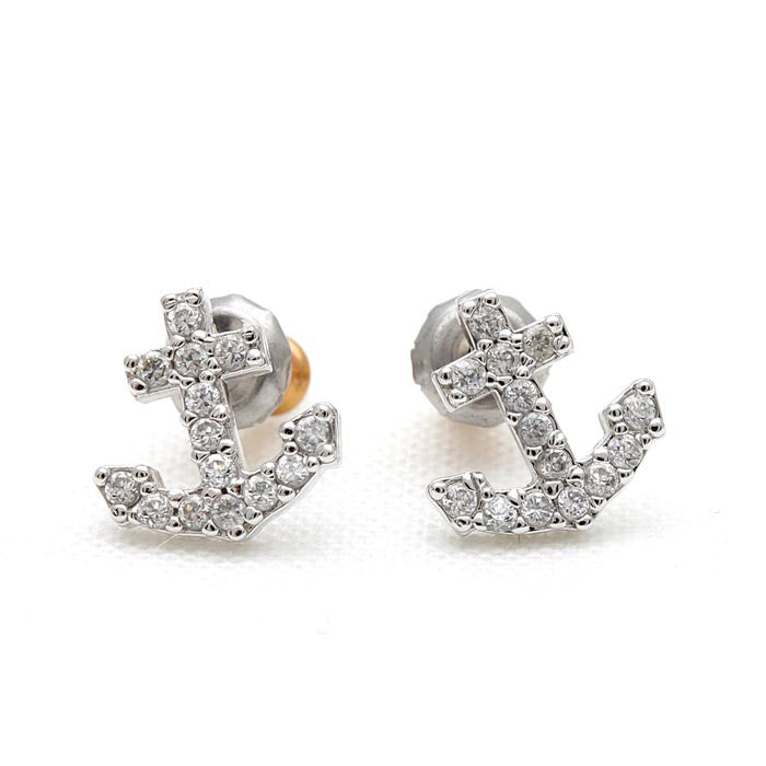 tiny anchor earrings, crystals - girlsluv.it