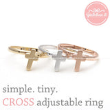 simple tiny CROSS adjustable ring, 3 colors - girlsluv.it  - 1