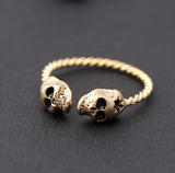 tiny twin SKULL with twisted band, 2 colors - girlsluv.it  - 4