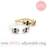 tiny twin SKULL with twisted band, 2 colors - girlsluv.it  - 1