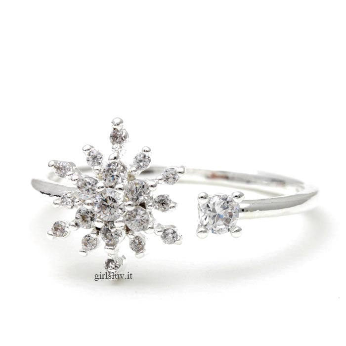 snowflake ring, adjustable - girlsluv.it