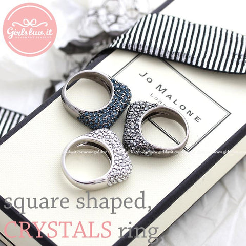 square shaped ring with crystals, 3 colors - girlsluv.it
