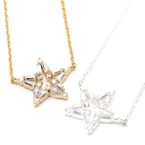 open star necklace, crystals - girlsluv.it  - 1