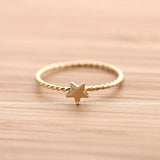 sterling silver tiny STAR with twisted band, 2 colors - girlsluv.it  - 3