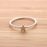 sterling silver tiny STAR with twisted band, 2 colors - girlsluv.it  - 2